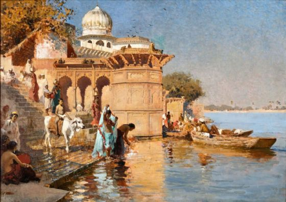 Weeks, Edwin Lord:  Along the Ghats, Mathura. Fine Art Print/Poster. Sizes: A4/A3/A2/A1 (003300)